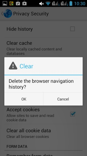 how to clear url history on android phone