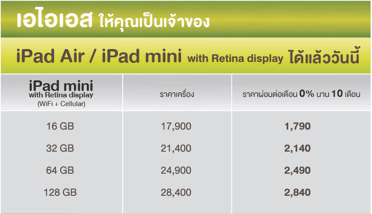 ราคา iPad mini with Retina Display AIS