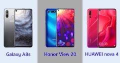 เปรียบเทียบ Samsung Galaxy A8s, Honor View 20 และ HUAWEI nova 4 โทรศัพท์หน้าจอมีรู