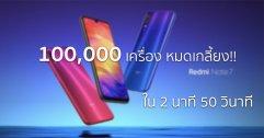 แรงต่อเนื่อง Redmi Note 7 ขายหมดเกลี้ยง 100,000 เครื่องเป็นรอบที่ 3 ในเวลา 2.50 นาที