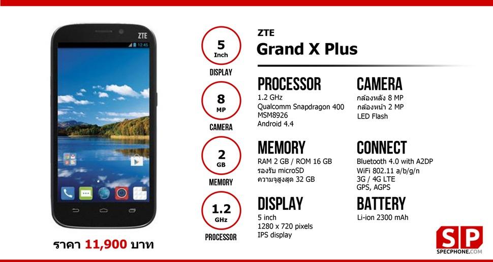 ZTE Grand X Plus โทรศัพท์หน้าจอ 5.0 นิ้ว ราคา 1x,xxx บาท