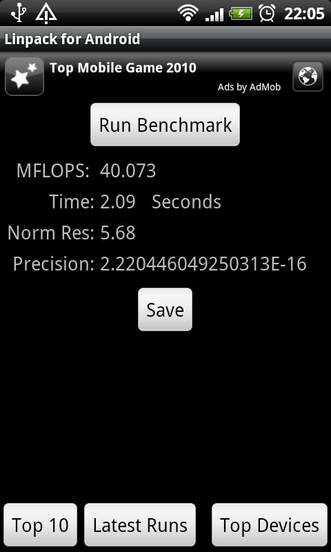 HTC DS HD Linpack