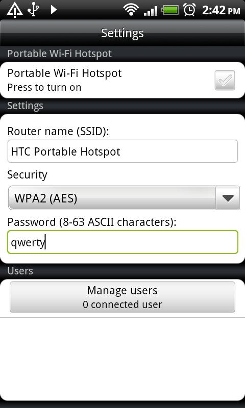 HTC DS HD WiFi Hotspot2
