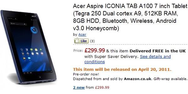 Acer Iconia Tab A100 แท็บเล็ตรุ่นเล็กสัญชาติ Android พร้อมจำหน่ายแล้ว!!! ในอังกฤษ