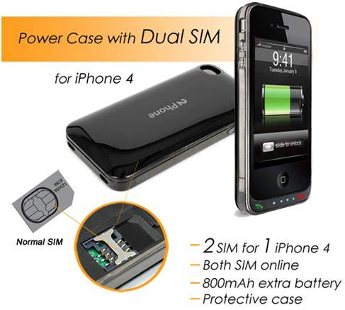 iphone 4 dual sim battery pack case 2