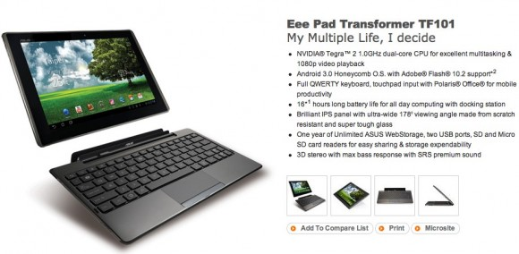 asus eee pad transformer tf101 official