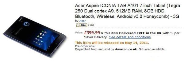 Acer Iconia Tab A100 รุ่น 3G เปิดจองใน Amazon UK แล้ววว