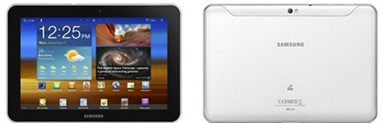 samsung galaxy tab 8 9 two up front black back white