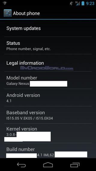 เตรียมอัพเดทเร็ว! เผยภาพ Galaxy Nexus LTE รัน Android 4.1 แล้วจ้า