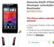 สงครามระหว่าง XDA เเละ Motorola : ออกมาเป็น Motorola RAZR Developer Edition