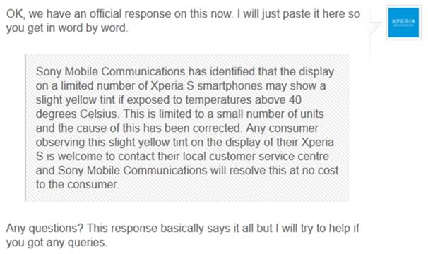 Sony ประกาศ Xperia S จอเหลืองสามารถส่งศูนย์ได้