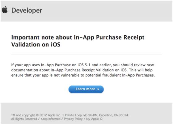 Apple ประกาศแล้ว ช่องโหว่ In-App Purchase จะได้รับการอุดถาวรใน iOS 6 แน่นอน