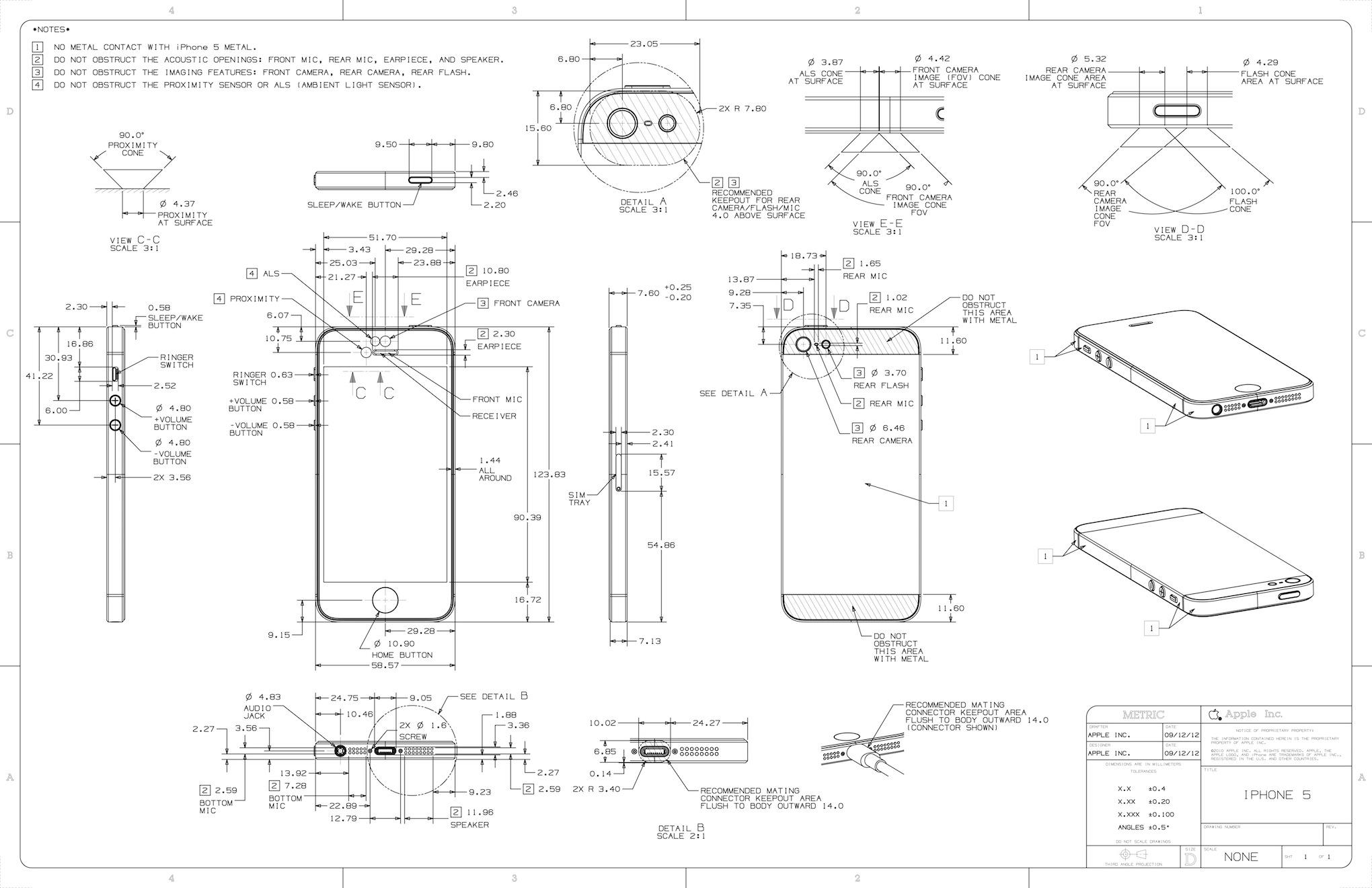 แผ่นพิมพ์เขียวร่างดีไซน์ของ iPhone 5 ถูกเปิดเผยออกมาแล้ว