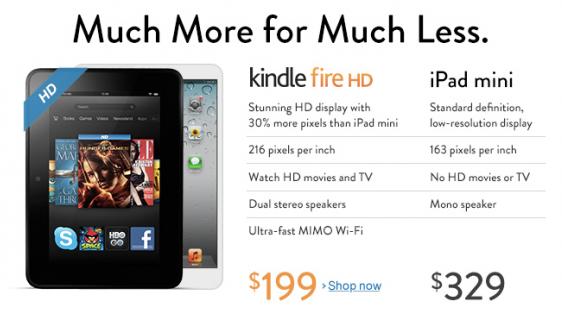 Amazon ทำตารางเทียบ Kindle Fire HD กับ iPad mini แต่ไม่นานก็มีตารางออกมาโต้ทันควัน