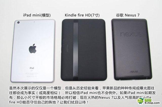 ภาพเทียบขนาดตัว Mock-up ของ iPad Mini กับ Nexus 7 และ Kindle Fire HD มาแล้ว