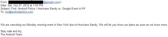 Google ยกเลิกงานเปิดตัว Android วันจันทร์ที่จะถึงนี้ไม่มีกำหนดจากเฮอร์ริเคนเเซนดี้