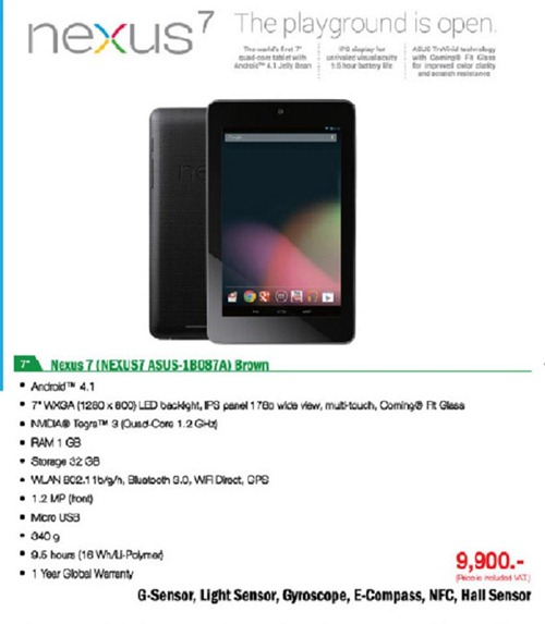 Asus Thailand เปิดราคา Nexus 7 รุ่น 16 GB เเล้ว