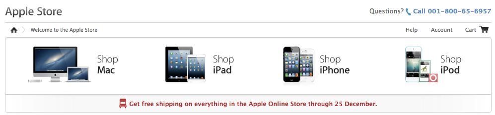 Apple Online Store ไทยไม่คิดค่าส่งสินค้ากรณีมูลค่ารวมไม่เกิน 2,000 บาท หมดเขตวันคริสต์มาสนี้