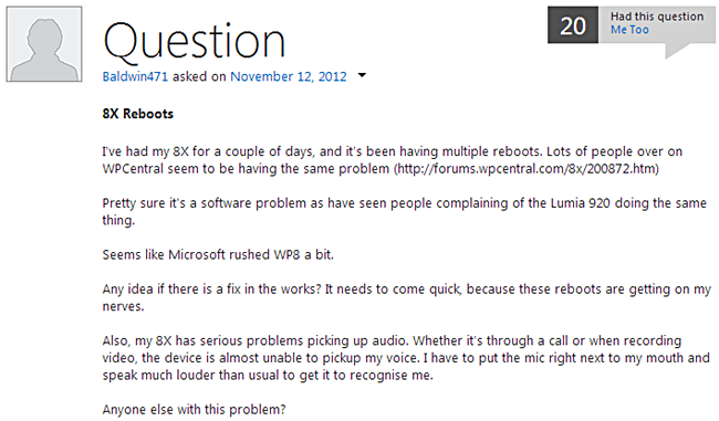 Microsoft เตรียมออกตัวอัพเดทเเก้ไขบั๊กสุ่มรีบูทเครื่องของ Windows Phone 8 ในเดือนธันวาคมนี้