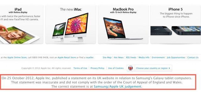 Apple ยินยอมลบโค้ดซ่อนคำขอโทษต่อ Samsung บนหน้าเว็บของตนใน UK แล้ว