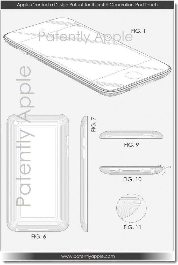 Apple จดสิทธิบัตรการออกแบบ iPod Touch Gen 4 เรียบร้อยแล้ว
