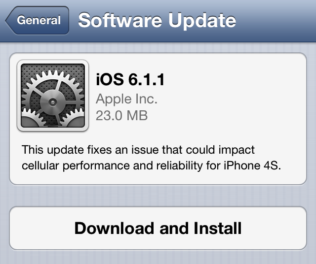 Apple ปล่อย iOS 6.1.1 ออกมาให้ผู้ใช้ iPhone 4S อัพเดตแก้ปัญหาการรับสัญญาณ Cellular แล้ว