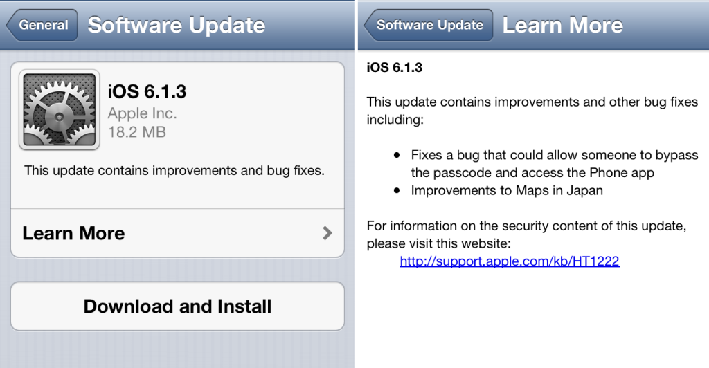 iOS 6.1.3 ออกมาให้อัพเกรดแก้บั๊กกันแล้ว ส่วนชาว Jailbreak แนะนำให้รอไปก่อน
