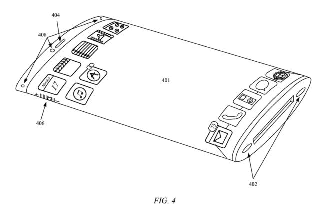 Apple จดสิทธิบัตรจอแสดงผลแบบโค้งงอหุ้มรอบอุปกรณ์ได้ พร้อมการจัดเรียงเนื้อหาแบบ 3D layer ในตัว