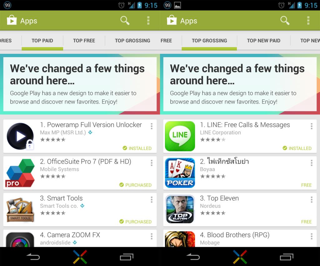 พรีวิวหน้าตาแบบใหม่ของ Google Play Store ฉบับอัพเดตเวอร์ชันล่าสุด