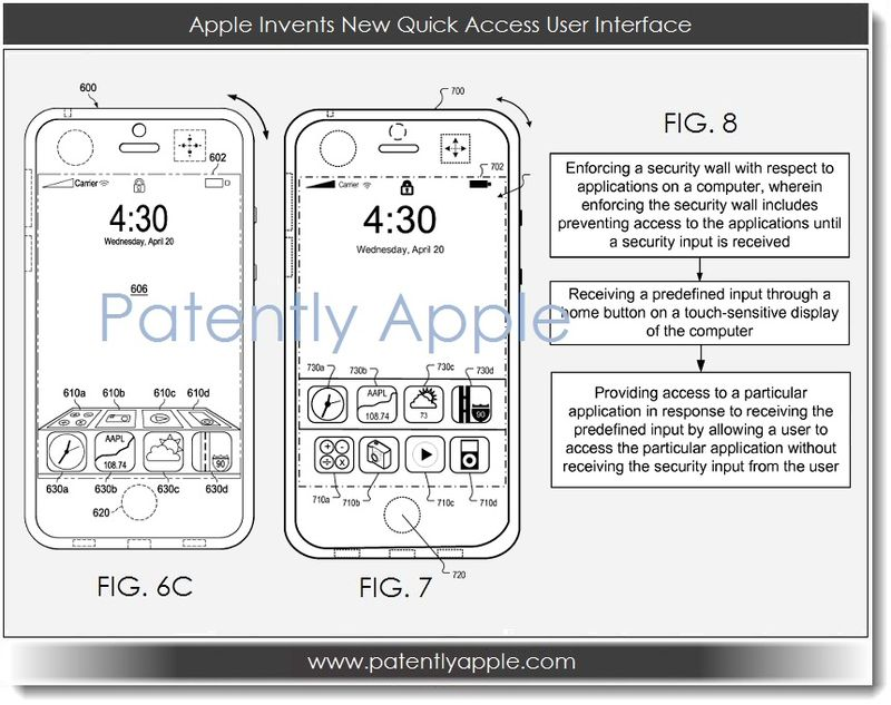 Apple จดสิทธิบัตรปุ่มโฮมเสมือน, ช็อตคัตสำหรับเรียกใช้งานแอพได้จากล็อคสกรีน