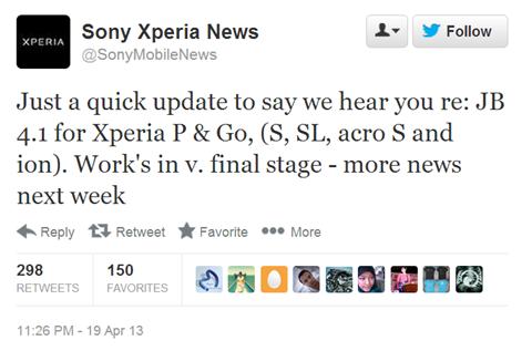 Sony อัพเดทความคืบหน้า Android 4.1 ของ Xperia ต้นปี 2012 ใกล้ปล่อยนี่อีกไม่กี่อาทิตย์ข้างหน้า