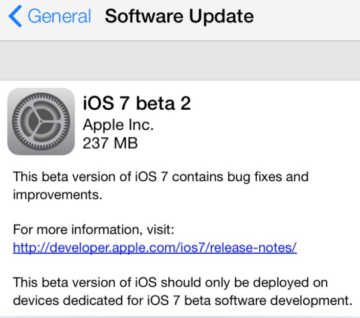 Apple ปล่อย iOS 7 Beta 2 สำหรับนักพัฒนาแล้ว พร้อมรองรับการใช้งานบน iPad และ iPad mini เพิ่มเข้ามาด้วย