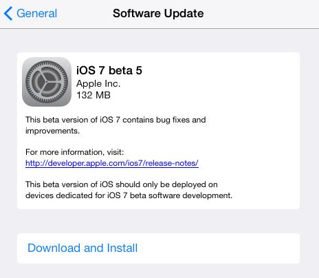 iOS 7 Beta 5 สำหรับ iPhone, iPad และ iPod Touch ออกมาแล้ว พร้อมให้นักพัฒนาสามารถอัพเดตจากในเครื่องได้ทันที