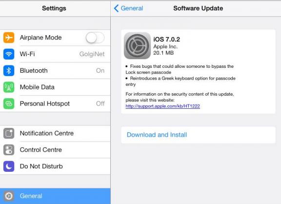 iOS 7.0.2 ออกให้อัพเดท แก้ไข Bug Bypass หน้า Lockscreen