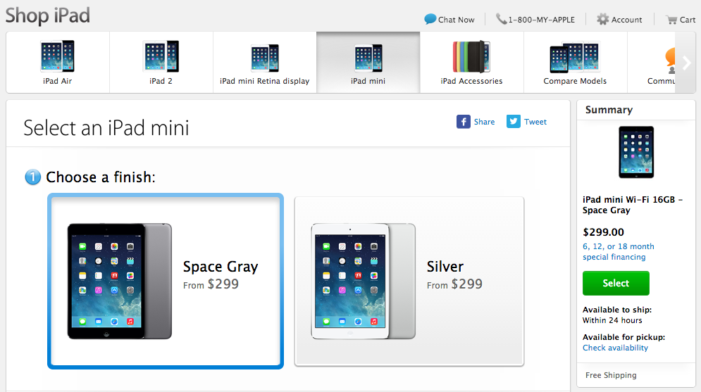 Apple ในสหรัฐฯ เปลี่ยนสี iPad mini รุ่นแรกจากดำเป็นเทา Space Gray พร้อมเปิดวางขายแล้ว