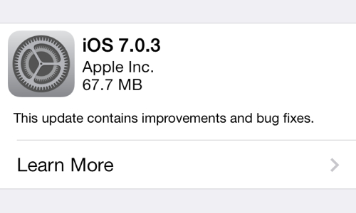 Apple ปล่อยอัพเดต iOS 7.0.3 แล้ว แก้ไขบั๊กบางส่วน กดอัพเดตจากในเครื่องได้ทันที