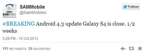 Samsung Galaxy S4 เตรียมได้รับอัพเดท Android 4.3 ในเดือนตุลาคมนี้แน่นอน