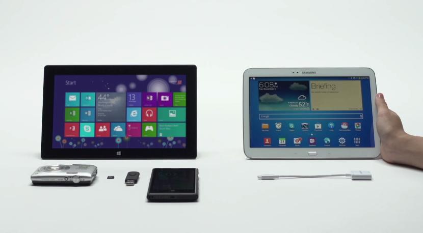 Microsoft ออกโฆษณาแซว Galaxy Tab เรื่องพอร์ตเชื่อมต่อ ไม่เหมือน Surface 2 ที่ครบครันกว่า