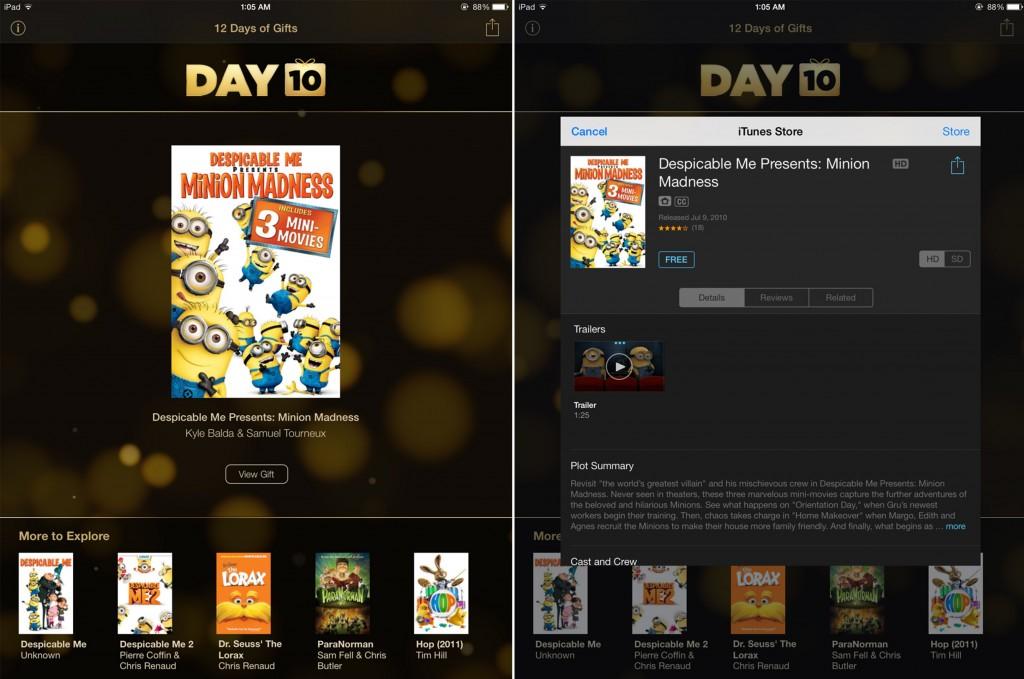 Apple แจกหนังสั้นในตระกูล Despicable Me ฟรี จากแอพของขวัญ 12 Days of Gifts [Day 10]