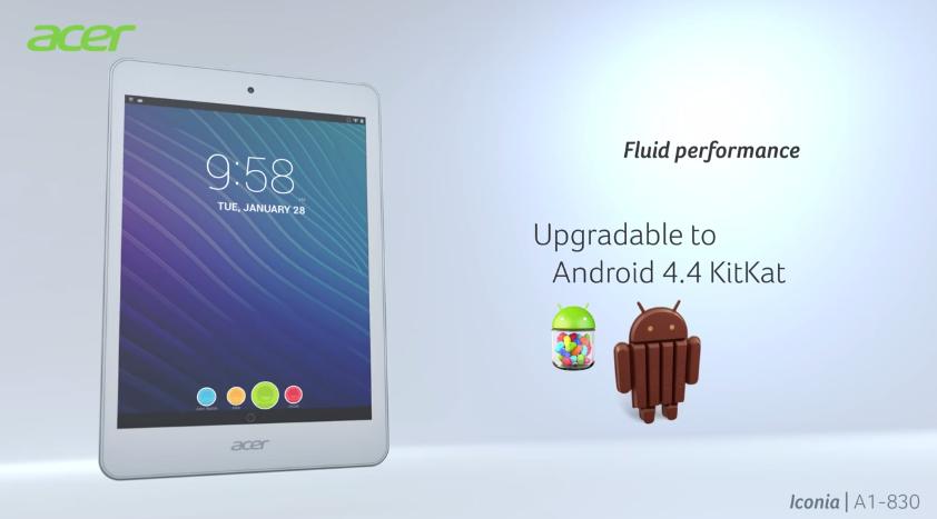 วิดีโอโปรโมต Acer Iconia A1 ตัวใหม่เผย สามารถอัพเดตเป็น Android 4.4 KitKat ได้ในอนาคต