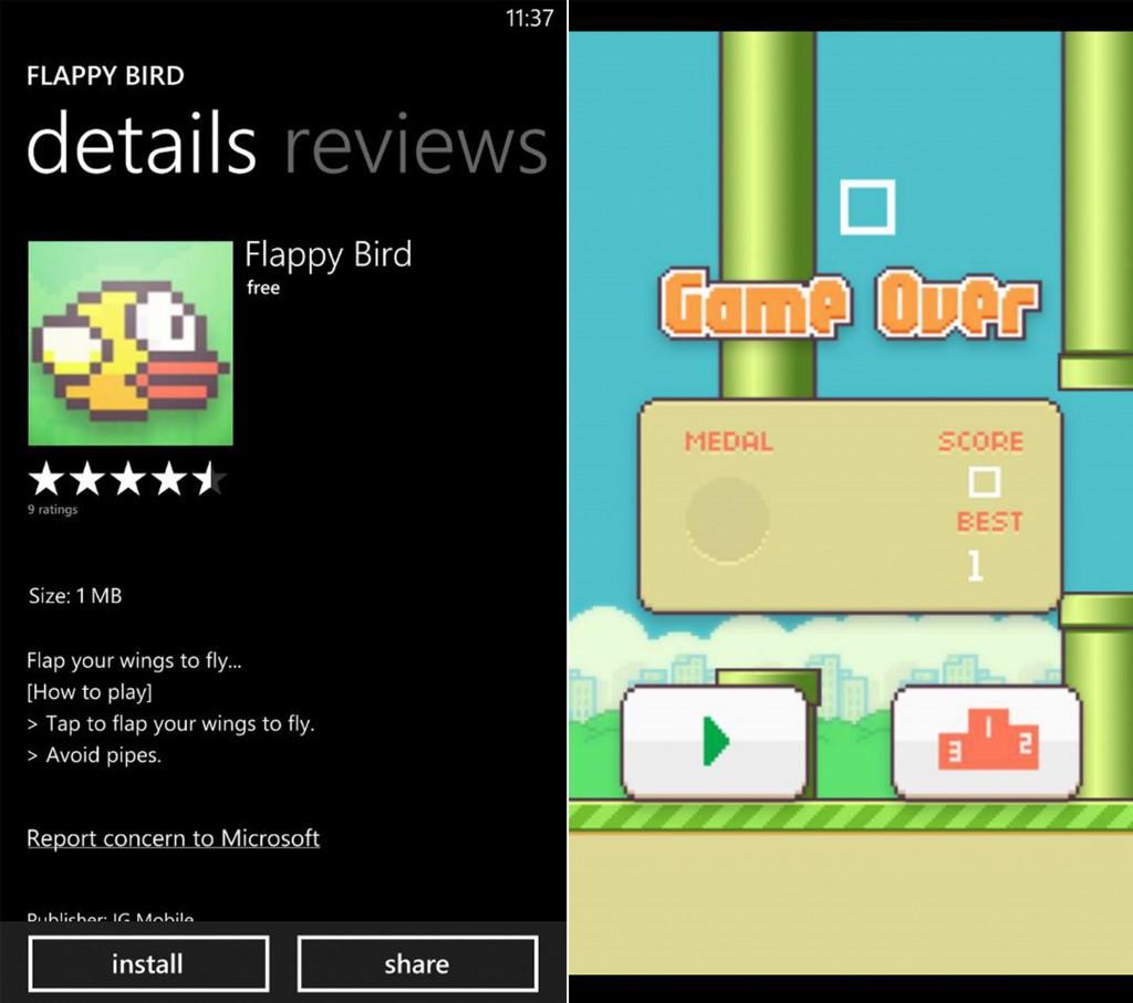 เกมนก Flappy Bird ตัวทดแทนสำหรับชาว Windows Phone เปิดให้โหลดฟรีแล้ว