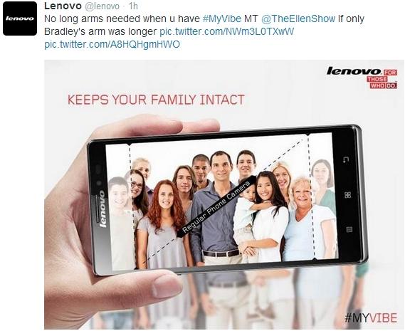 Lenovo Samsung Ellen Oscar selfie