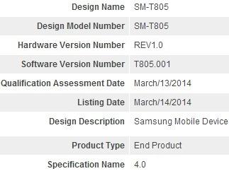 Samsung SM-T805 (ว่าที่ Galaxy Tab Pro ตัวใหม่) ได้รับการรับรองสัญญาณ Bluetooth เรียบร้อยแล้ว