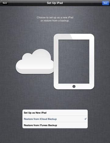 การ Restore ข้อมูลจาก iCloud ด้วย iPad