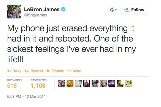 LeBron James พรีเซนเตอร์ Samsung ทวิตบ่นมือถือพัง ลบข้อมูลแล้วรีบูทเอง (ทวิตโดนอุ้มไปแล้ว)
