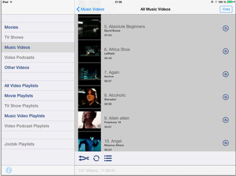joobik video playlist player - play itunes playlists on the ipad