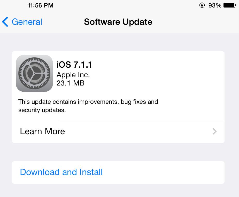 Apple เปิดให้ดาวน์โหลดอัพเดต iOS 7.1.1 แล้ว เน้นแก้บั๊ก Touch ID เป็นหลัก