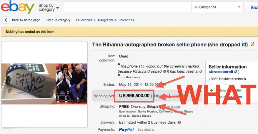 มือถือพังก็มีค่าถึง 66,500 ดอลลาร์ได้ แค่มีลายเซ็นของ Rihanna