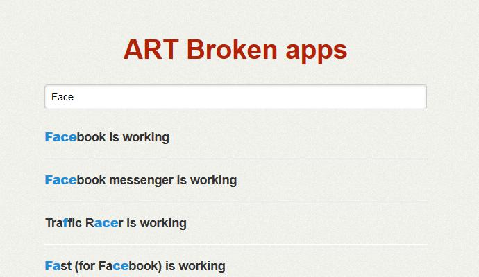 พบ AndroidRuntime.com เว็บไซต์ที่ช่วยเช็คว่าแอพไหนสามารถรันด้วย ART ได้