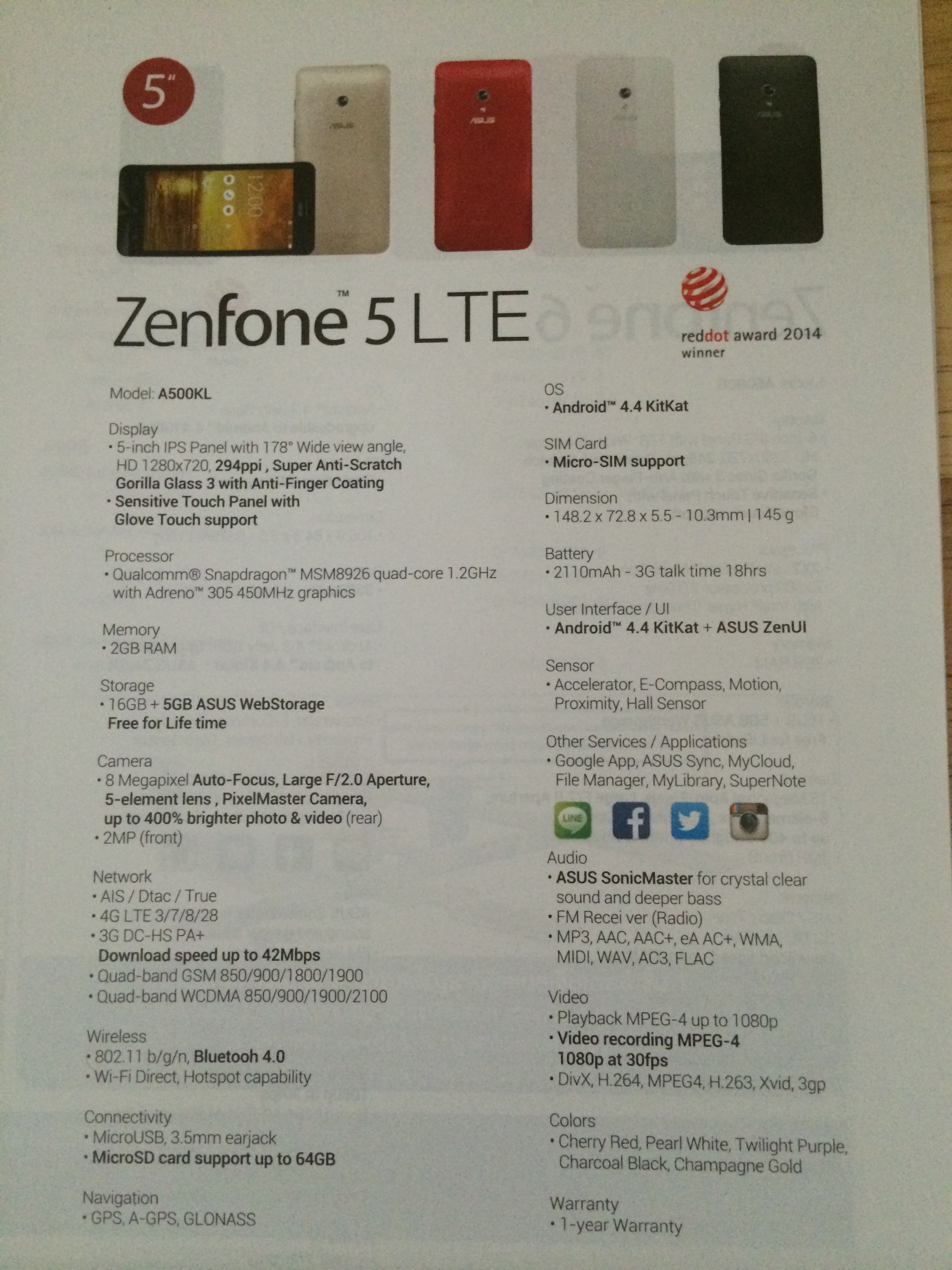 Zenfone 5 LTE Spec TH